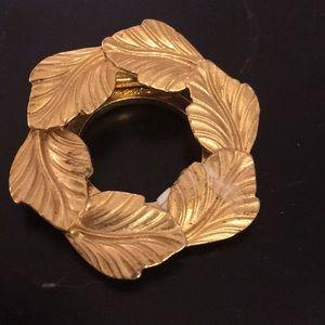 Signed Tara vintage gold wreath scarf clip